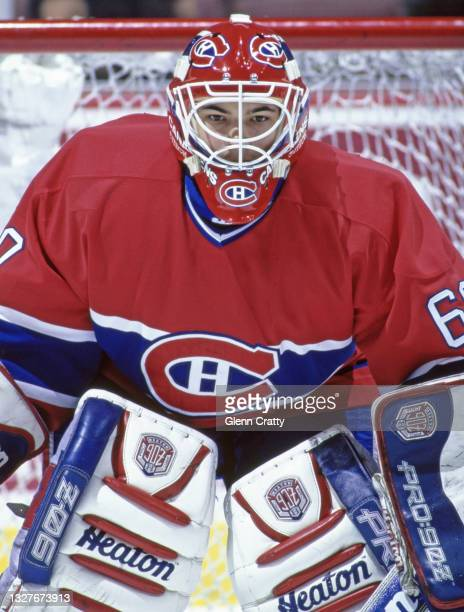 Jose Theodore, Goalkeeper for the Montreal Canadiens looks on tending goal during the NHL Western Conference Pacific Division game against the Mighty...