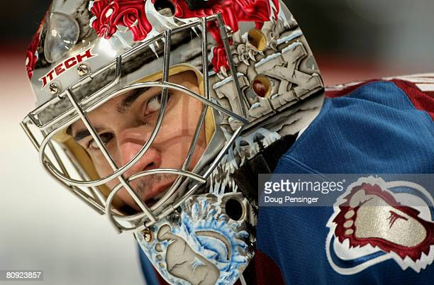 Jose Theodore of the Colorado Avalanche starts in goal against the Detroit Red Wings during Game Three of the Western Conference Semifinals of the...
