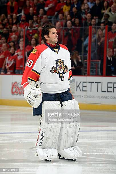 Jose Theodore of the Florida Panthers in action during an NHL hockey game against the Washington Capitals at Verizon Center on February 9 2013 in...