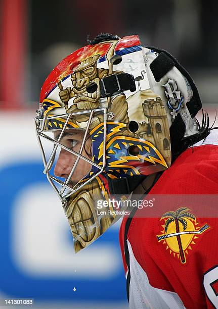 Jose Theodore of the Florida Panthers looks on against the Philadelphia Flyers on March 8 2012 at the Wells Fargo Center in Philadelphia Pennsylvania