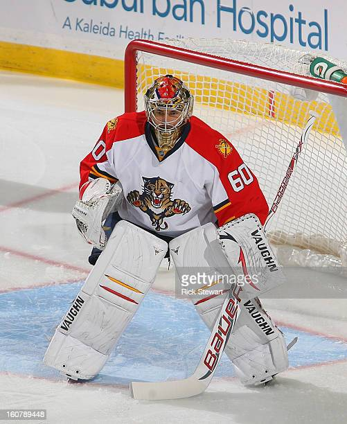 Jose Theodore of the Florida Panthers plays in goal against the Buffalo Sabres at First Niagara Center on February 3 2013 in Buffalo New York Florida...