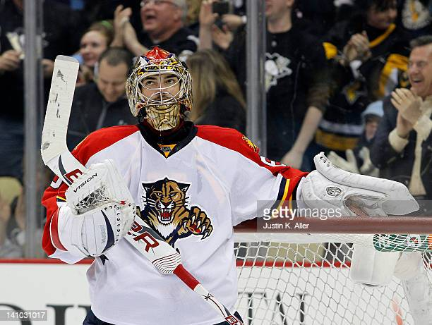 Jose Theodore of the Florida Panthers reacts after giving up a goal to Evgeni Malkin of the Pittsburgh Penguins during the game at Consol Energy...