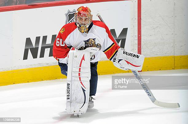 Jose Theodore of the Florida Panthers warms up before the game against the Washington Capitals at the Verizon Center on October 18 2011 in Washington...