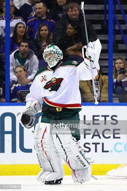 Jose Theodore of the Minnesota Wild celebrates a victory over the St Louis Blues at the Scottrade Center on March 29 2011 in St Louis Missouri The...