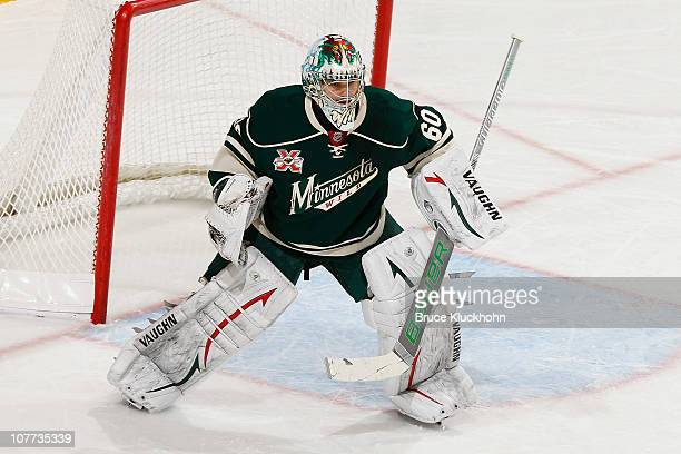 Jose Theodore of the Minnesota Wild defends his goal against the Ottawa Senators during the game at the Xcel Energy Center on December 16 2010 in...