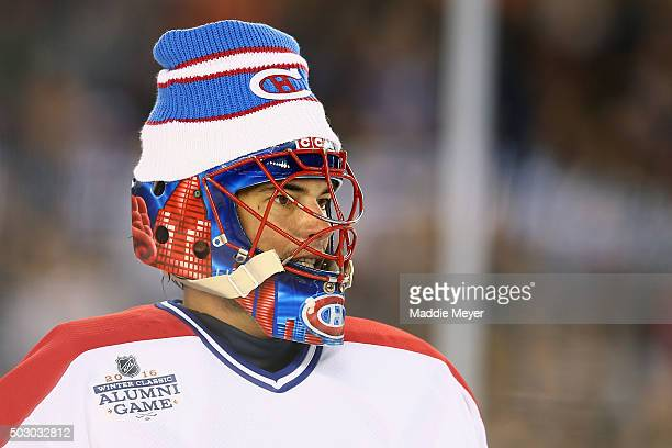 Jose Theodore of the Montreal Canadiens looks on during the 2016 Bridgestone NHL Winter Classic Alumni Game against the Boston Bruins at Gillette...