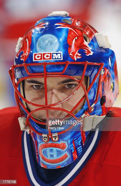 Jose Theodore of the Montreal Canadiens looks on during the game against the Ottawa Senators at the Corel Center on December 27 2002 in Ottawa Canada...