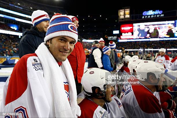 Jose Theodore of the Montreal Canadiens on the bench against the Boston Bruins in the Alumni Game on December 31 2015 during 2016 Bridgestone NHL...