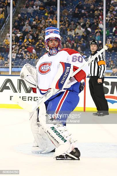 Jose Theodore of the Montreal Canadiens skates against the Boston Bruins in the alumni game on December 31 2015 during 2016 Bridgestone NHL Winter...