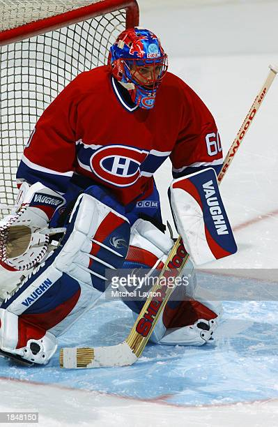 Jose Theodore of the Montreal Canadiens warms up prior to the game against the Washington Capitals on February 9 2003 in Washington DC
