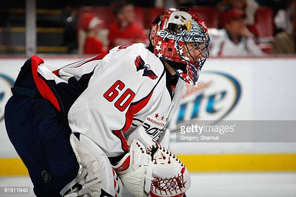 Jose Theodore of the Washington Capitals defends the net during the game against the Detroit Red Wings on October 10 2009 at Joe Louis Arena in...
