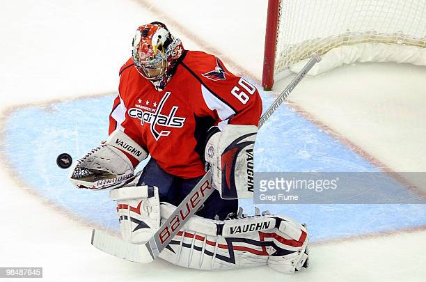Jose Theodore of the Washington Capitals makes a save against the Montreal Canadiens in Game One of the Eastern Conference Quarterfinals during the...