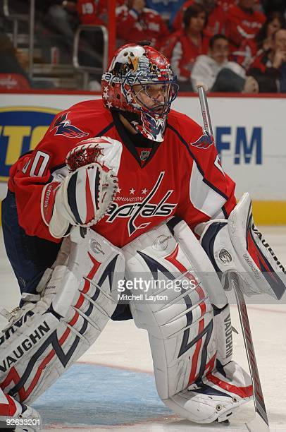 Jose Theodore of the Washington Capitals prepares for a shot during a NHL hockey game against the New York Islanders on October 30 2009 at the...