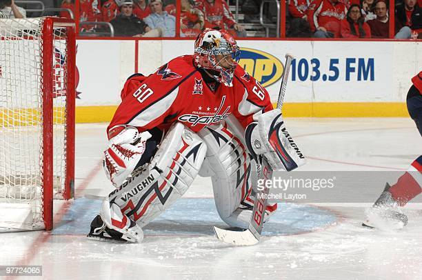 Jose Theodore of the Washington Capitals prepares for a shot during a NHL hockey game against the New York Rangers on March 6 2010 at the Verizon...