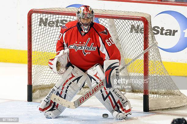 Jose Theodore of the Washington Capitals warms up before the game against the Tampa Bay Lightning on March 12 2010 at the Verizon Center in...