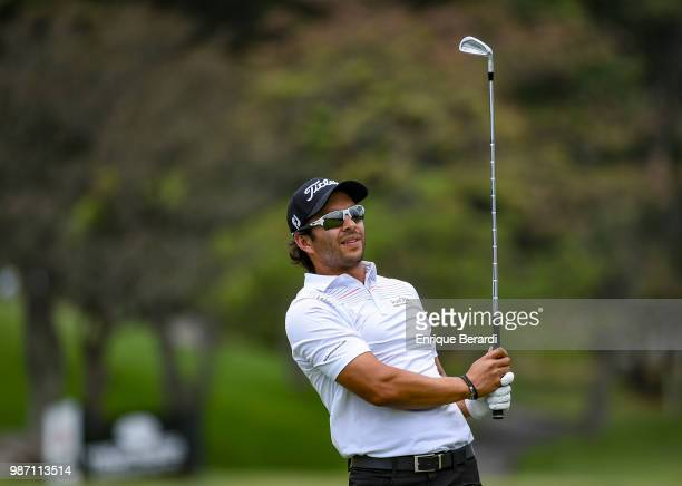 Jose Toledo of Guatemala hits a tee shot on the 11th hole during practice for the PGA TOUR Latinoamérica Guatemala Stella Artois Open at La Reunion...