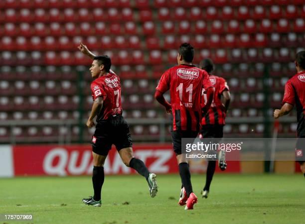 Jose Torrealba of Deportivo Lara celebrates a goal during a match between Deportivo Lara and Liga de Loja as part of the Copa Total Sudamericana at...