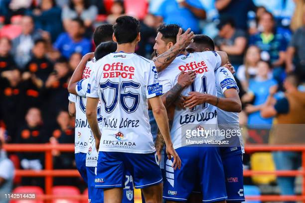 Jose Ulloa of Pachuca celebrates the first scored goal during the 14th round match between Pachuca vs Veracruz as part of the Torneo Clausura 2019...