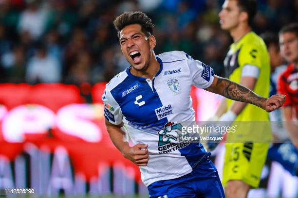 Jose Ulloa of Pachuca celebrates the ninth scored goal during the 14th round match between Pachuca vs Veracruz as part of the Torneo Clausura 2019...