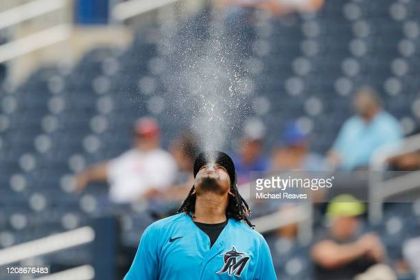 Jose Urena of of the Miami Marlins reacts against the Houston Astros in the first inning of a Grapefruit League spring training game at FITTEAM...