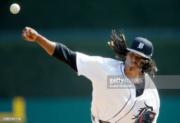 Jose Urena of the Detroit Tigers pitches against the Minnesota Twins during the second inning at Comerica Park on April 5 in Detroit, Michigan.