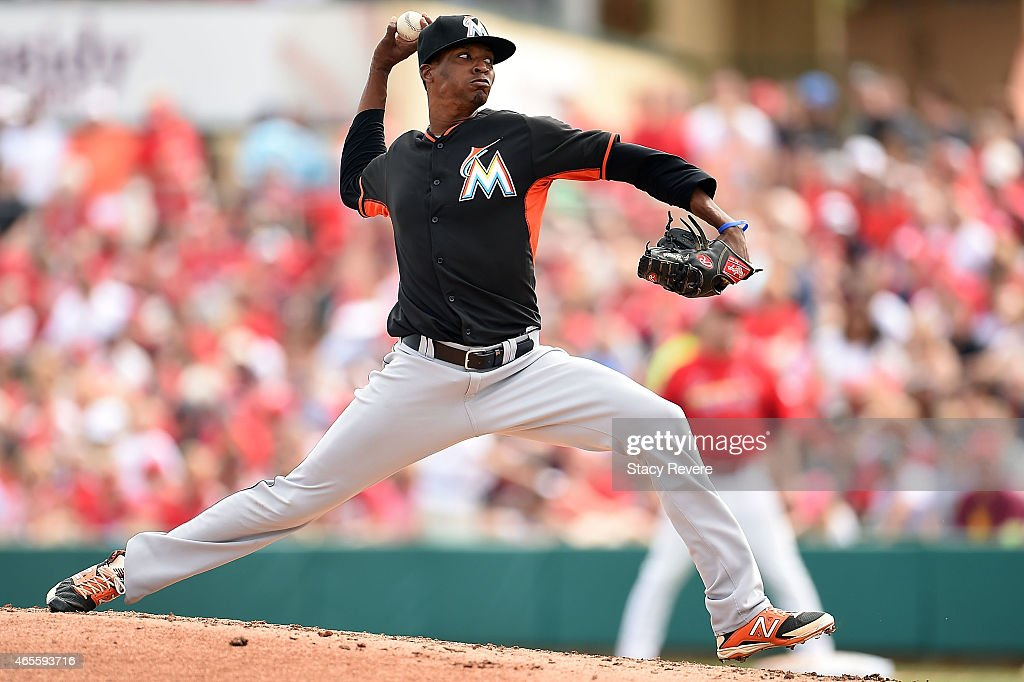 Jose Urena #62 of the Miami Marlins throws a pitch during the third inning of a spring training game against the St. Louis Cardinals at Roger Dean Stadium on March 8, 2015 in Jupiter, Florida.