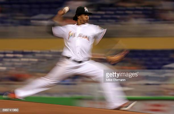 Jose Urena of the Miami Marlinspitches during a game against the Philadelphia Phillies at Marlins Park on September 6 2016 in Miami Florida