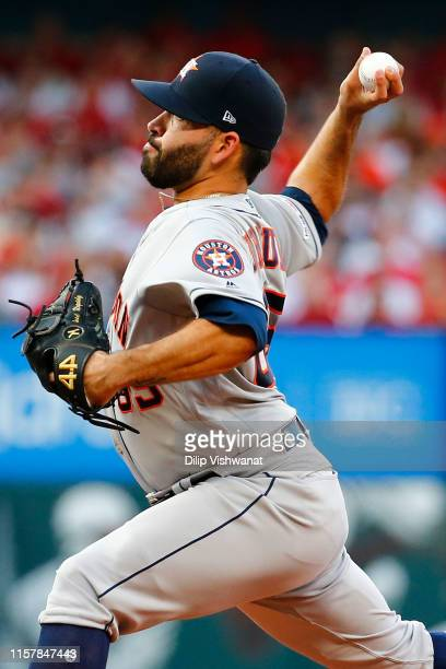 Jose Urquidy of the Houston Astros delivers a pitch against the St Louis Cardinals in the first inning at Busch Stadium on July 26 2019 in St Louis...