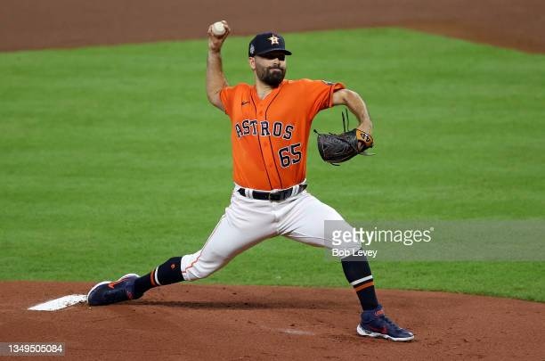 Jose Urquidy of the Houston Astros delivers the first pitch of Game Two of the World Series against the Atlanta Braves at Minute Maid Park on October...