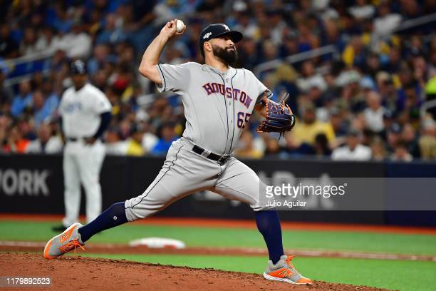 Jose Urquidy of the Houston Astros delivers the pitch against the Tampa Bay Rays during the fifth inning in game four of the American League Division...