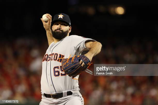 Jose Urquidy of the Houston Astros delivers the pitch against the Washington Nationals during the first inning in Game Four of the 2019 World Series...