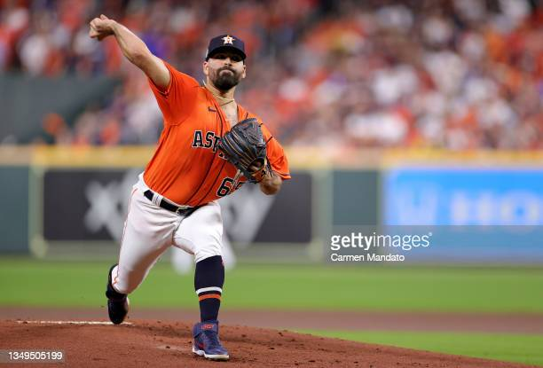 Jose Urquidy of the Houston Astros delivers the pitch against the Atlanta Braves during the first inning in Game Two of the World Series at Minute...
