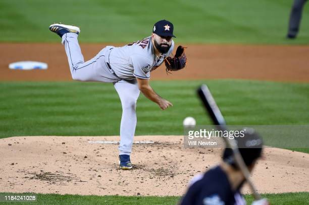 Jose Urquidy of the Houston Astros pitches against the Washington Nationals during Game Four of the 2019 World Series at Nationals Park on October 26...