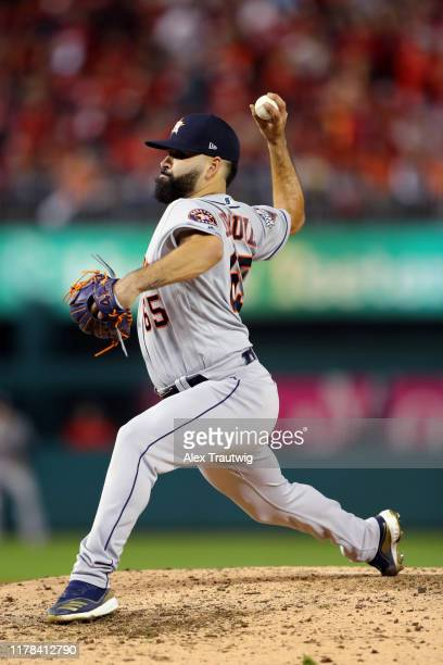 Jose Urquidy of the Houston Astros pitches during Game 4 of the 2019 World Series between the Houston Astros and the Washington Nationals at...