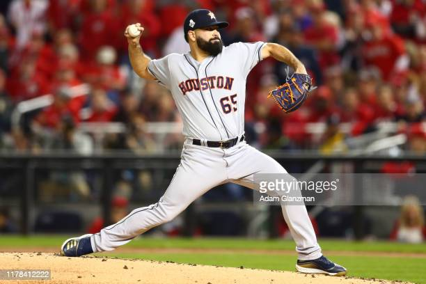 Jose Urquidy of the Houston Astros pitches in the first inning during Game 4 of the 2019 World Series between the Houston Astros and the Washington...