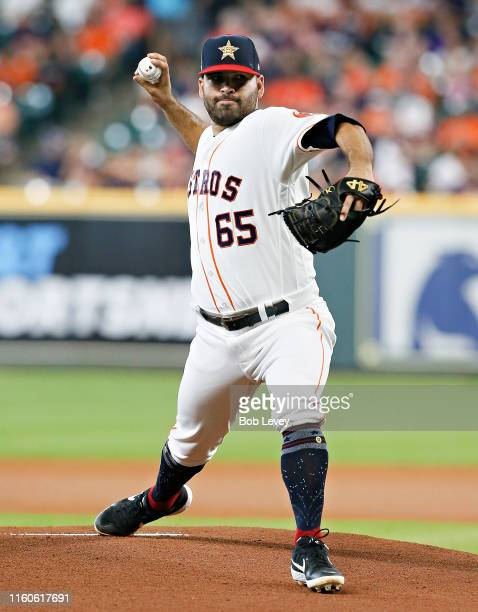Jose Urquidy of the Houston Astros pitches in the first inning against the Los Angeles Angels of Anaheim at Minute Maid Park on July 07 2019 in...