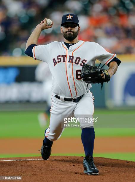 Jose Urquidy of the Houston Astros pitches in the first inning against the Texas Rangers at Minute Maid Park on July 20 2019 in Houston Texas