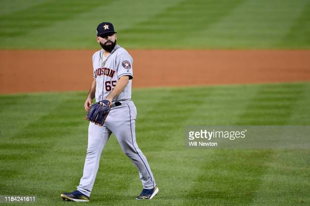 Jose Urquidy of the Houston Astros walks off the field after an innings against the Washington Nationals during Game Four of the 2019 World Series at...