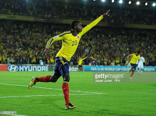 Jose Valencia of Colombia celebrates scoring his sides opening goal during the FIFA U-20 World Cup Colombia 2011 group A match between Colombia and...