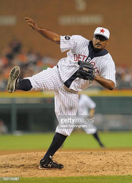 Jose Valverde of the Detroit Tigers pitches while wearing a Detroit Stars Negro League Tribute uniform during the game against the Pittsburgh Pirates...