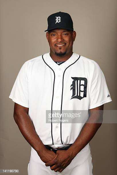 Jose Valverde of the Detroit Tigers poses during Photo Day on Tuesday February 28 2012 at Joker Marchant Stadium in Lakeland Florida