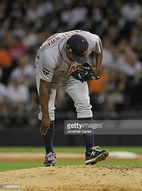 Jose Valverde of the Detroit Tigers prepares to pitch in the 9th inning against the Chicago White Sox at US Cellular Field on July 26 2011 in Chicago...