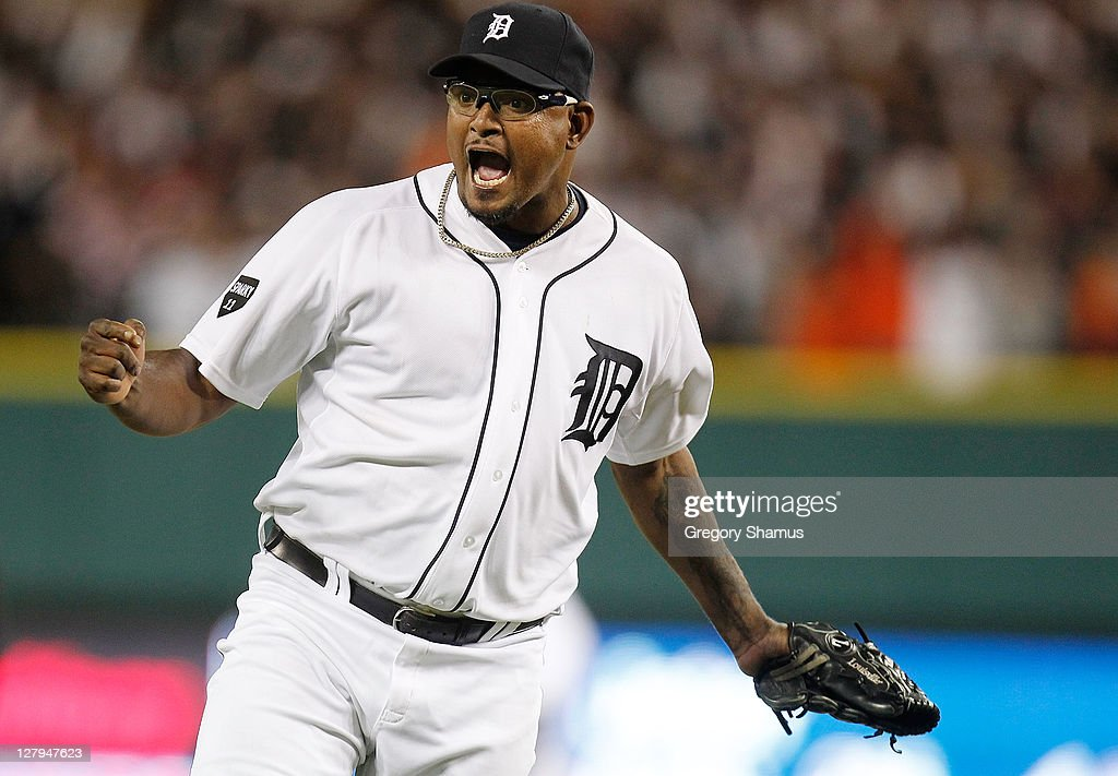 Jose Valverde #46 of the Detroit Tigers reacts after beating the New York Yankees 5-4 in game three of the American League Division Series at Comerica Park on October 3, 2011 in Detroit, Michigan. Detroit takes a 2-1 series lead.