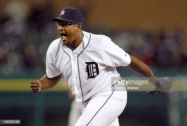 Jose Valverde of the Detroit Tigers reacts after striking out Josh Hamilton of the Texas Rangers to win 32 in the second game of a double header at...