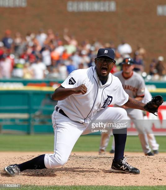 Jose Valverde of the Detroit Tigers reacts after the final out of the game against the San Francisco Giants at Comerica Park on July 3 2011 in...