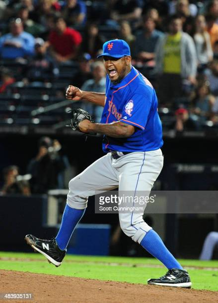 Jose Valverde of the New York Mets celebrates after striking out the final batter of the game for a save against the Atlanta Braves at Turner Field...