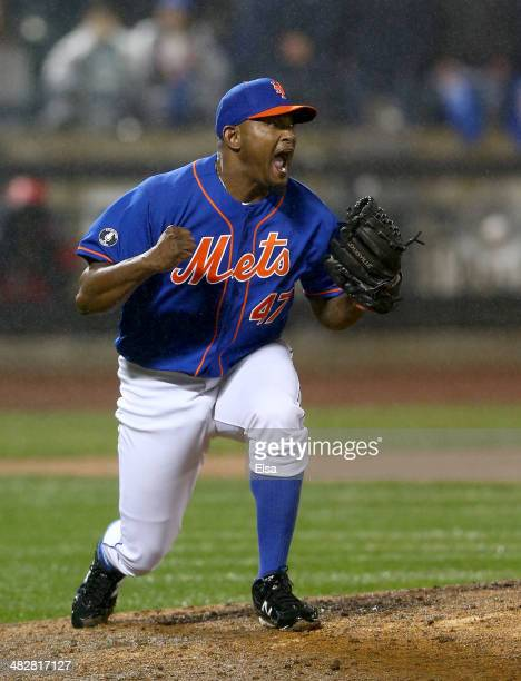 Jose Valverde of the New York Mets celebrates the win after the final out in the ninth inning against the Cincinnati Reds on April 4 2014 at Citi...