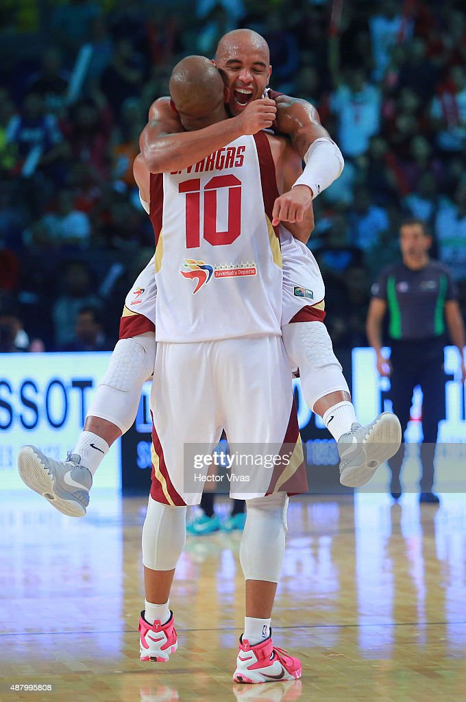 Jose Vargas and Gregory Vargas of Venezuela celebrate winning a final match between Venezuela and Argentina as part of the 2015 FIBA Americas Championship for Men at Palacio de los Deportes on September 12, 2015 in Mexico City, Mexico.