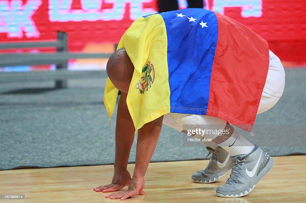 Jose Vargas of Venezuela celebrates winning a final match between Venezuela and Argentina as part of the 2015 FIBA Americas Championship for Men at Palacio de los Deportes on September 12, 2015 in Mexico City, Mexico.