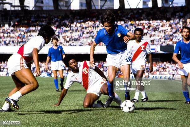 Jose Velasquez of Peru and Bruno Conti of Italy during the World Cup match between Italy and Peru at Balaidos Stadium Vigo Spain on 18h June 1982